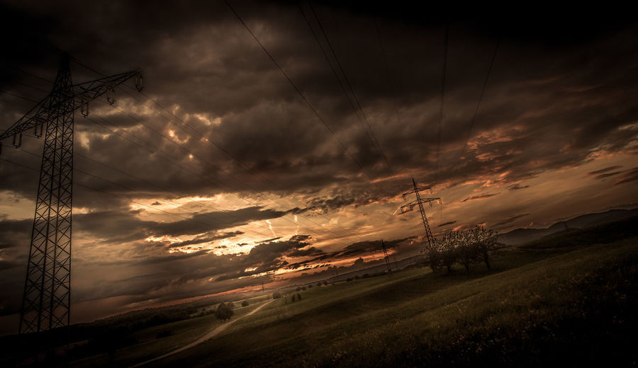 Aufziehendes Gewitter in Adelhausen Sonnenuntergang Sundown Sunset Cloud - Sky Sky Electricity  Electricity Pylon Beauty In Nature Nature Field Outdoors