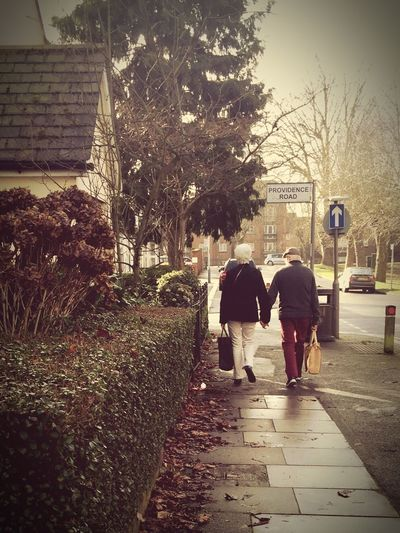 Rear View Walking Built Structure Building Exterior Real People The Way Forward Architecture Full Length Tree Outdoors Women Day Men Two People City Adult Adults Only People Couple Holding Hands Older Couple EyeEm London Happiness