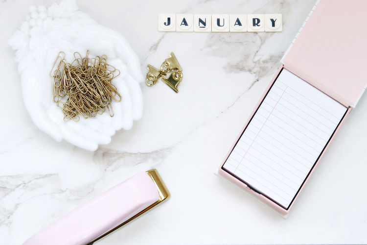 January New year desk Branding Photography Chic Communication Desk Top Elegant January Marble Desk Office Supplies Organization Over Head Paper Pink Template White