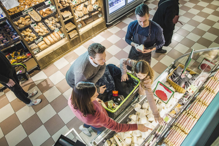 High angle view of people at store