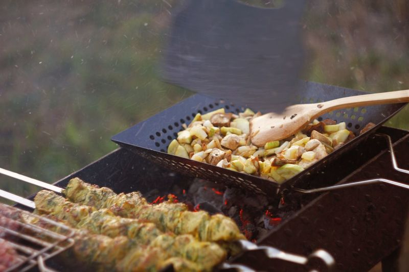 Close-up of food on barbecue