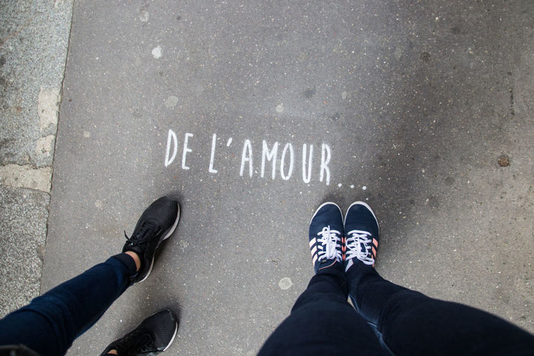 De l'amour Low Section Standing Human Leg Men Shoe Directly Above Communication Personal Perspective Close-up Human Foot Foot Shoelace Pair Things That Go Together Human Toe Footwear