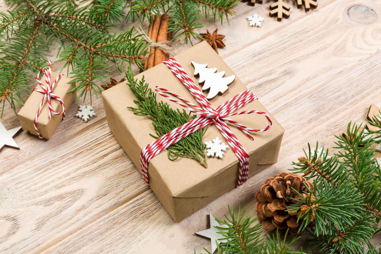 High angle view of christmas tree in box