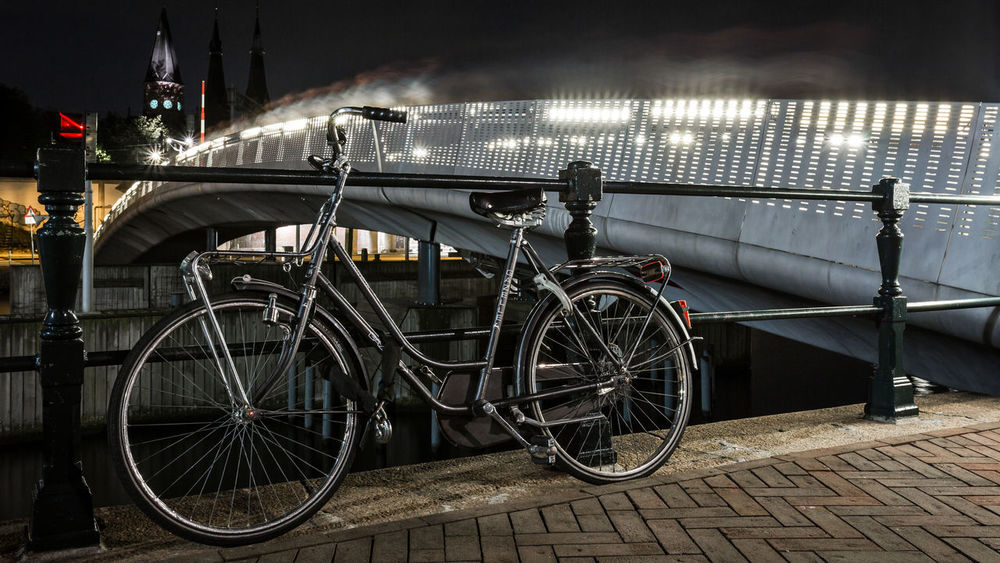 Amsterdam transportation Amsterdam Bicycle Bike Capital Cities  City Cycling Europe Holland Land Vehicle Mode Of Transport Netherlands Night Night Photography Nightphotography Parked Side View Stationary Street Transportation Urban Urbanphotography Wheel Cities At Night