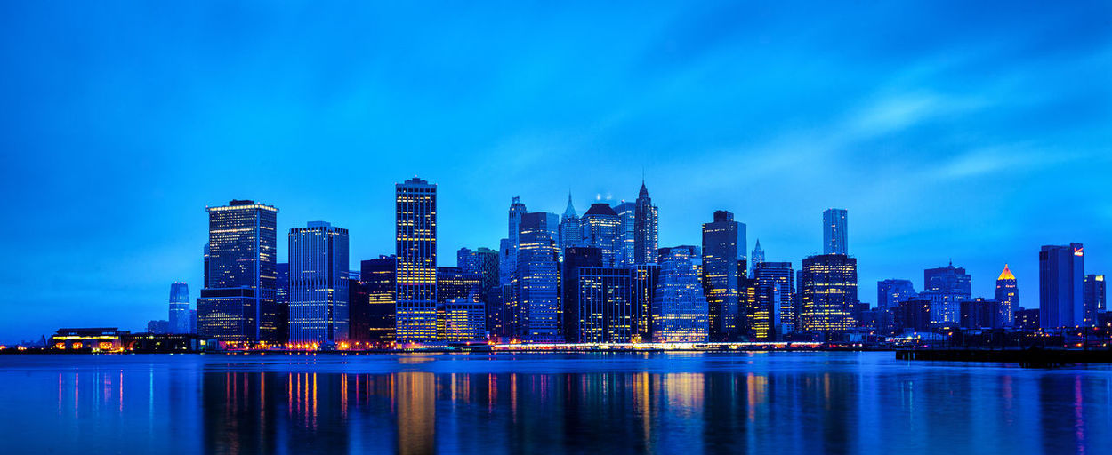 Beauty In Nature Blue City City Life Cityscape Illuminated Modern Nature New York No People NYC Skyline Outdoors Reflection Scenics Sky Skyline Skyscraper Tall Tall - High Tranquil Scene Tranquility Urban Skyline Water Waterfront