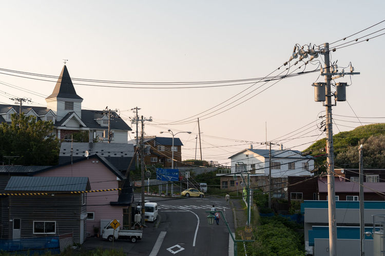 EyeEm Selects Business Finance And Industry Cable Electricity  Outdoors No People Day Architecture Mountain Sky Electricity Pylon City Small Town Rishiri Island Hokkaido Japan