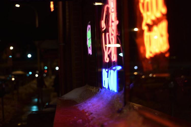 City Ice Illuminated Neon Neon Sign Night No People Picoftheday Reflection Lake Snow