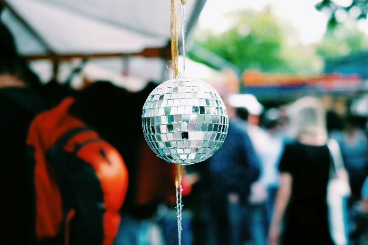 Hanging Focus On Foreground People Outdoors Disco Ball Discoball Reflection Light Mirror Fleamarket Summer Vibes Day Summer The City Light Capture Tomorrow