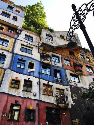 Building Exterior Window Architecture No People Residential Building Built Structure Balcony Hundertwasser