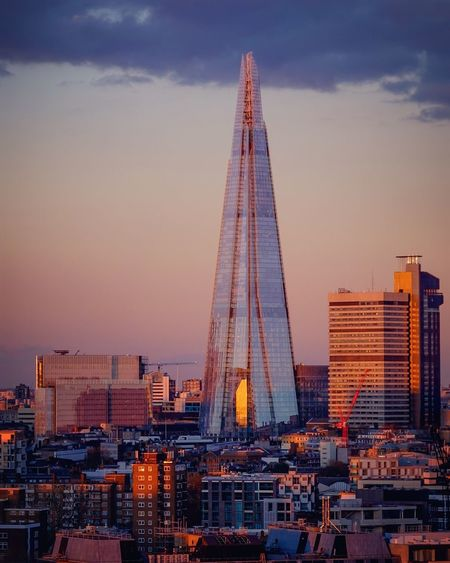 Shard London Bridge Amidst Buildings Against Sky During Sunset In City