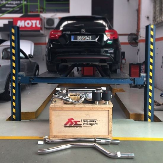 "Arrived and Installed. 1st ""Frequency Intelligent Exhaust"" Fie Fiexhaust full exhaust system with valvetronic in Malaysia for Mercedes Mercedesbenz Aclass W176 A250 Sport engineered by AMG AclubMalaysia MBSHOOTOUT ClubAKlasse ig_mbenz DBS343 ....alhamdulillah ? ....thanks @euro_werks for the good service....Boss @muzzhafar terbaikkk ??"