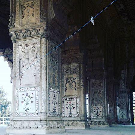 Olddehli Redfort Pillars Carving Mughal Empire