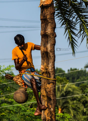 Man At Work Nature Outdoors Side View Tree Trunk Village Scene