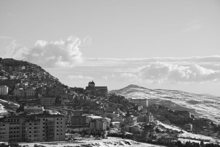 Sicily Mountain Architecture Building Exterior Built Structure Nature Building Day No People Outdoors Palermo B&w Blackandwhite Madonie Landscape Snow Snow Mountain