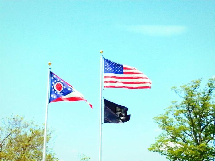 Road Trip Michigan Via Georgia Ohio Ohio State Flag Pow Mia Flag American Flag Rest Stop