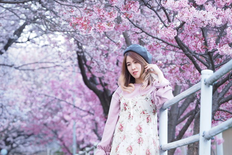 Low Angle View Of Woman In Springtime