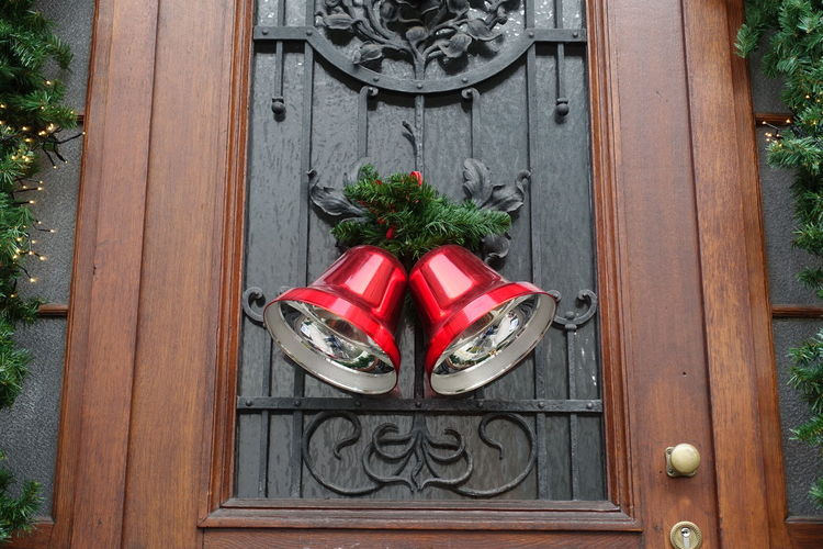 Christmas bells Christmas Decoration Red Wood - Material Door Close-up