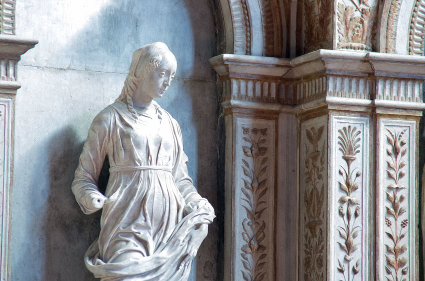 A Architectural Column Architecture Church Church Of The Brothers Day Europe Female Representation History Italy Marble Marbledstone Renaisa Santa Maria Gloriosa Dei Frari Sculpture Statue Venice Venice, Italy Women