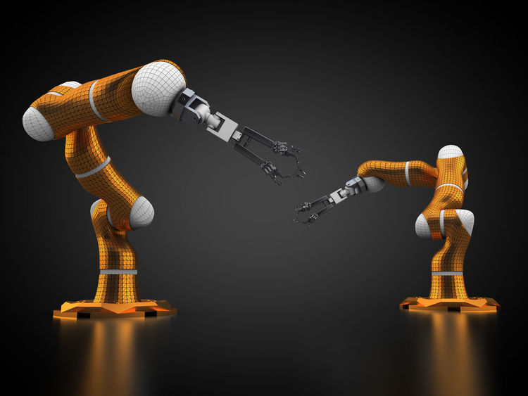 3D rendering: robotic arms on black background 3D 3d Rendering Black Background Frontal View Industrial Industry Manufacture Manufacturing Rendering Robot Robotic Robotic Arm Robotic Arms Robotics Robots Tech Technic Technical Technology