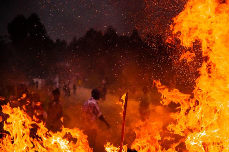 View protestors and bonfire