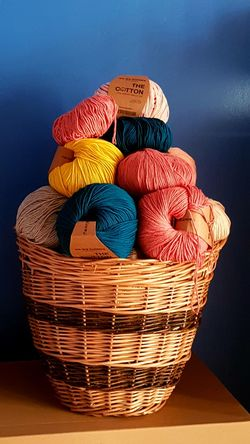 EyeEm Selects Blue Background Cotton Balls Colorful Colors Hobbies Crochet Multicolors  Wicker Basket EyeEm Selects Multi Colored Basket Sweet Food Close-up Wicker Handmade
