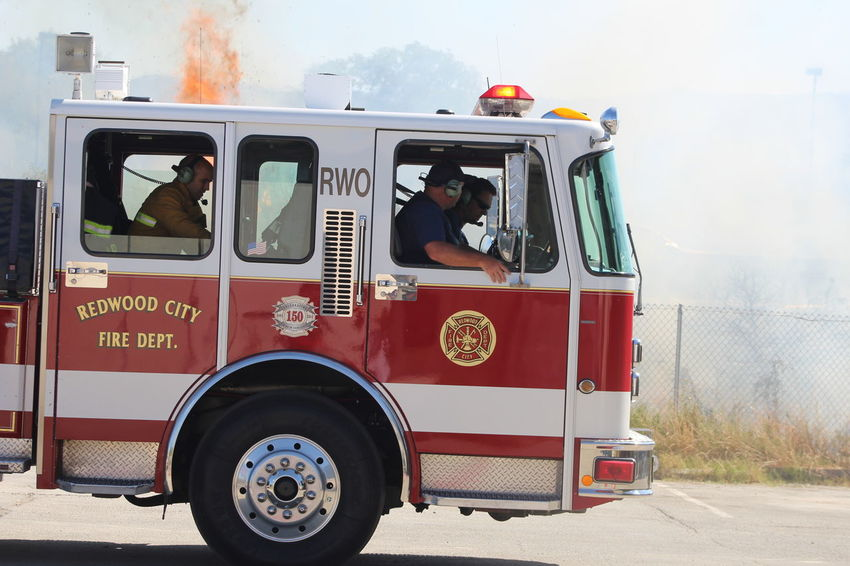 Day Fire Engine Firefighter Land Vehicle Men Mode Of Transport Outdoors People Real People Rescue Sky Transportation Uniform
