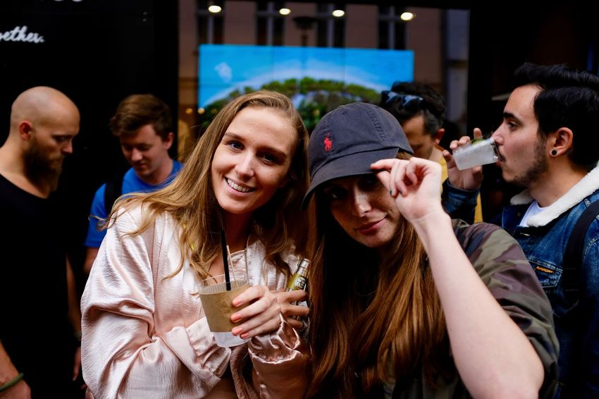Horizn Photo Exhibition. Bonding Crowd Drink Enjoyment Food And Drink Friendship Fun Large Group Of People Leisure Activity Lifestyles Men Night Outdoors People Real People Smiling Togetherness Young Adult Young Women
