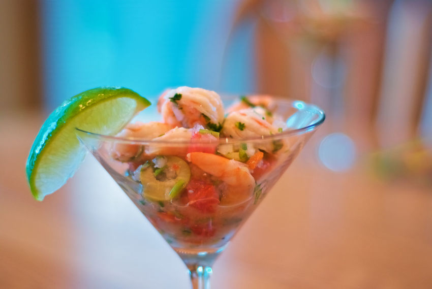 Shrimp Cocktail. Appetizer Close-up Food Freshness Indoors  Indulgence Ready-to-eat Shrimp