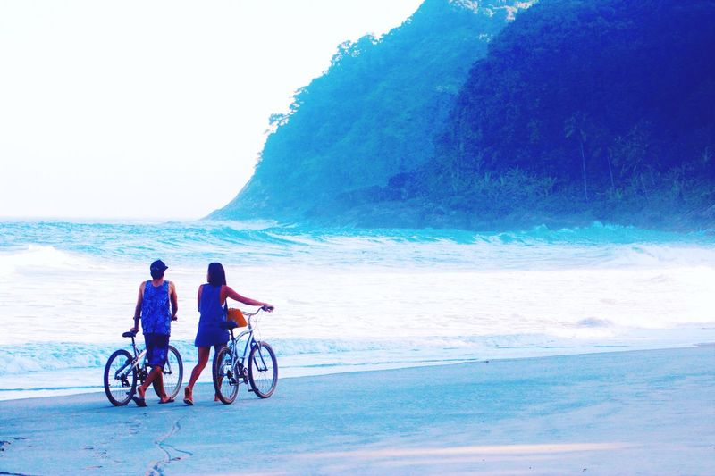 Bicycle Beach Togetherness Outdoors Relaxation Travelling Water