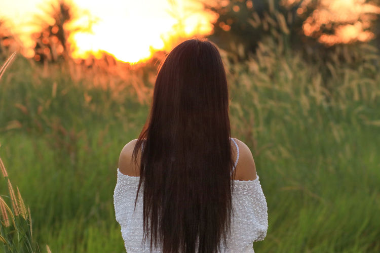 Rear view of woman with long hair standing in farm during sunset