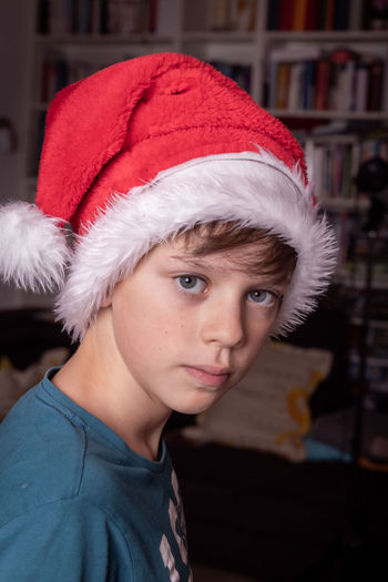 Portrait of boy wearing hat
