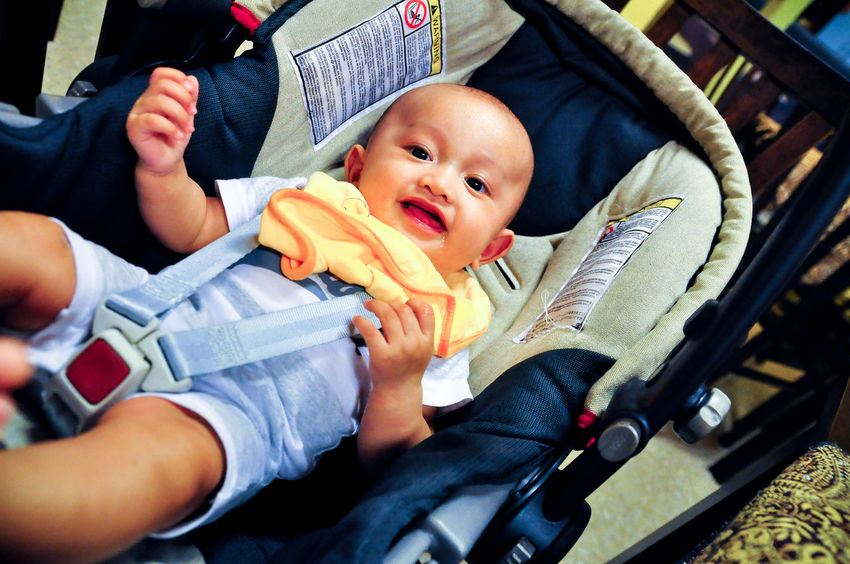5 month old asian baby is smiling while being buckled up in a baby carrier placed on a restaurant chair. Baby Babyboy Babyhood Smiling Smile Cute Cute♡ Happiness Happy Baby Carriage Laying Down Excited Asian  Asian Baby  Asian Kid Asian Children Malaysia Malaysian Wearing 5 Months  0-11 Months Infant Innocence Looking At Camera Chicco Safety Buckle