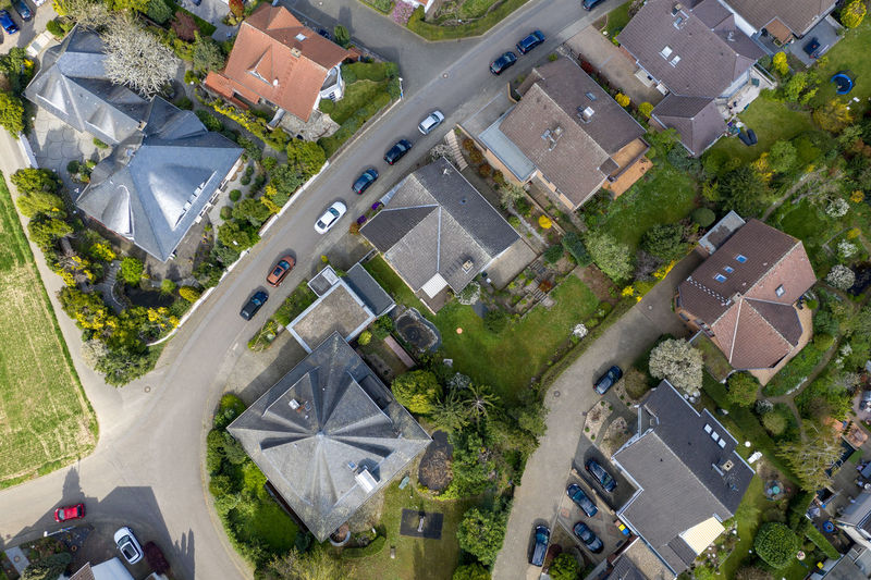 areal view of rural village Nature Day Outdoors High Angle View Structure And Nature Architecture Houses Building Exterior Building Residential District Aerial View Tree Roof Road Street Car No People