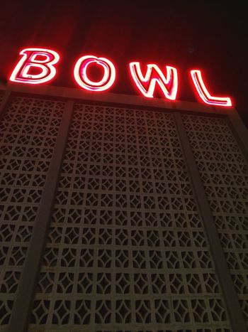 Bowling Alley Scenery Illuminated Communication Text Neon Sign Western Script Low Angle View Lighting Equipment Night No People Built Structure Capital Letter Glowing Information Sign Information Pattern Red Architecture
