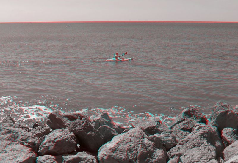 3D 3D Art 3D Photo Visualize With Anaglyph 3D Glasses Adventure Beauty In Nature Day Full Length Horizon Over Water Leisure Activity Nature One Man Only One Person Outdoors People Real People Sea Skill  Sky Vacations Water
