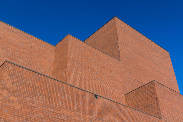 Architecture Blue Brown Building Exterior Built Structure Clear Sky Close-up Day Geometry History Low Angle View Minimal No People Outdoors Sky Travel Destinations The Graphic City