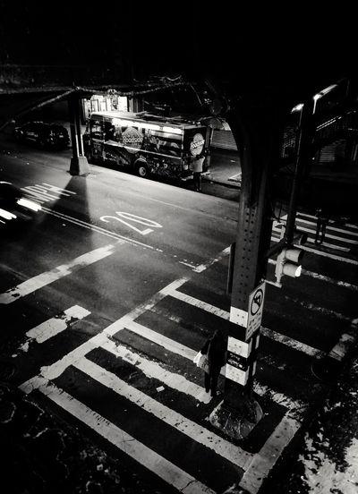 Road City City Street Underthebridge NYC Astoria Astoria, Queens N Train Blackandwhite Truck Food Truck