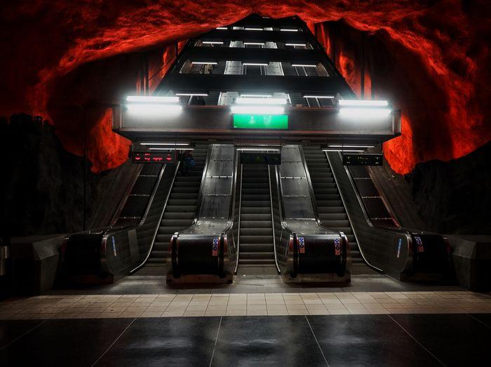 View of escalator at subway station