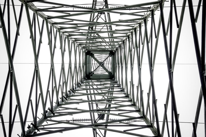 Built Structure Connection Diminishing Perspective Directly Below Geometric Shape Iron - Metal Modern No People Tall - High