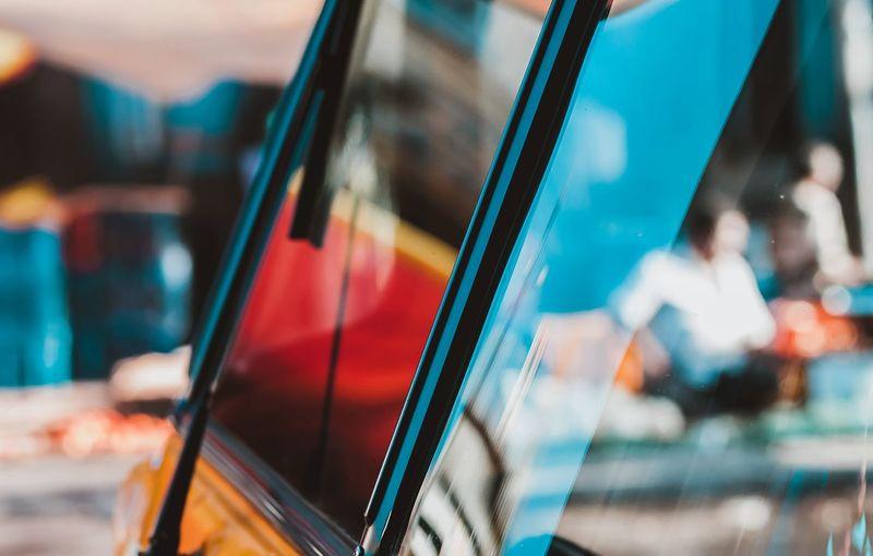 Close-up of rickshaw windshield
