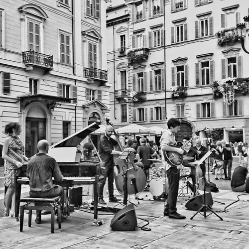 Musician Outdoors My Photography Black And White Music Concerts & Events People Summer Sing Songs Streetphotography Swing Jazz Band