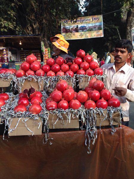 Street Life Street Food Fruit Pomegranate People Make A Living India Nalanda