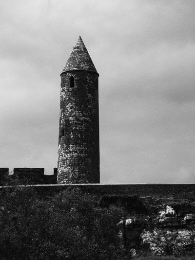 Old Old Buildings Architecture Monestary Stone Irish Ireland Cashel Sky Cloud Round Tower Clouds And Sky Blackandwhite PhotographyClose-up