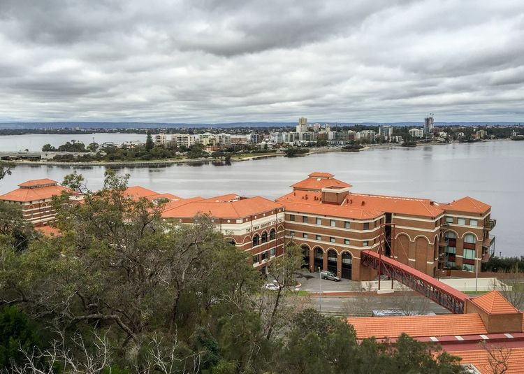 Old Swan Brewery: Perth Western Australia Australia King's Park Perth Trees Landscape Elevated View Old Swan Brewery Brewery Architecture Building River Swan River City Urban Cityscape Overcast Sky Bridge Traffic Road Elevated Walkway South Perth