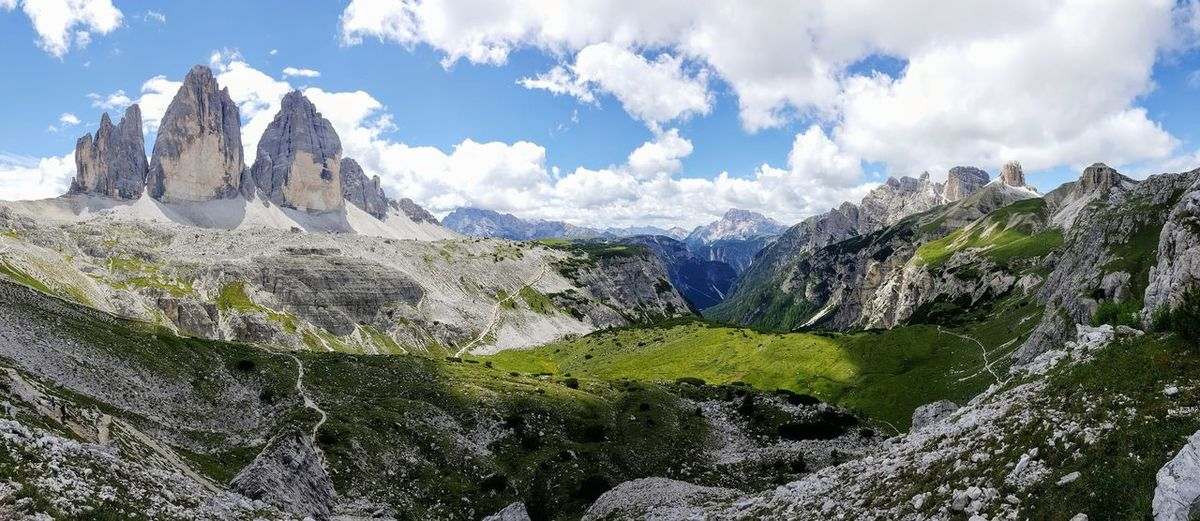 3 Zinnen Dolomites, Italy Dolomites Dolomiti Panoramic Panorama Panoramic Photography Panoramic View Nature Italy Summertime What A View UNESCO World Heritage Site Unesco Welkulturerbe Hiking Hikingadventures Südtirol South Tyrol Dreizinnen Wandern Wanderlust Berge Mountain