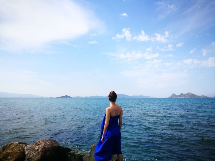 Water Sea Women Standing Blue Beach Rear View Sky Horizon Over Water EyeEmNewHere