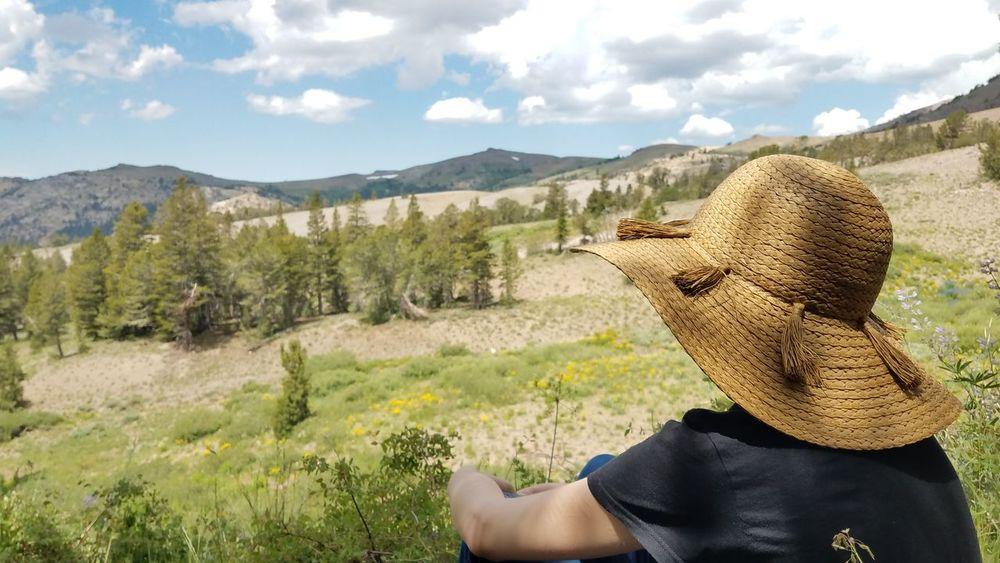 Valley Lush Valley Sonora Pass Sonora Peak Sierra Nevada Sierra Nevada Mountains Alpine Alpine Landscape Alpine Hiking Alpine Meadow EyeEm Selects Mountain Women Adventure Headshot Rear View Sky Landscape Close-up Sun Hat Tranquil Scene Idyllic Calm Scenics Remote Straw Hat Mountain Range