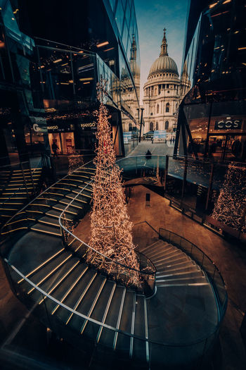 London 3 Architecture Built Structure christmas tree City No People Decoration Christmas Celebration Illuminated Building Christmas Decoration Building Exterior Holiday London London lifestyle United Kingdom Shopping Mall Shopping Time LONDON❤ EyeEm Best Shots EyeEm Selects Staircase Contemporary Architecture Festive Season