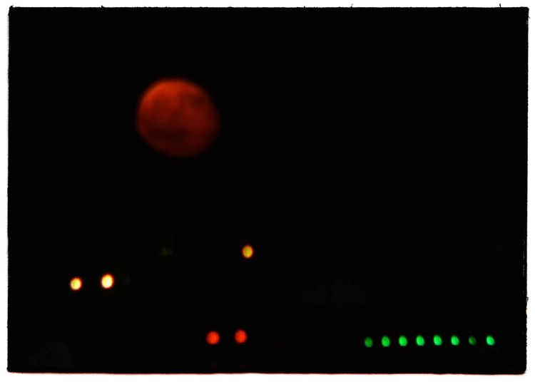 """""""Pink moon and runaway edge lights"""". With aDIY At Home Telelens :Monocular plus camera / /Night Photography Darkness And Lights/ Airport Lights Marks Runaway Pista Di Atterraggio Pink Moon Full Moon Luna Piena Areoporto Point And Shoot camera and Eyeemfilter L"""