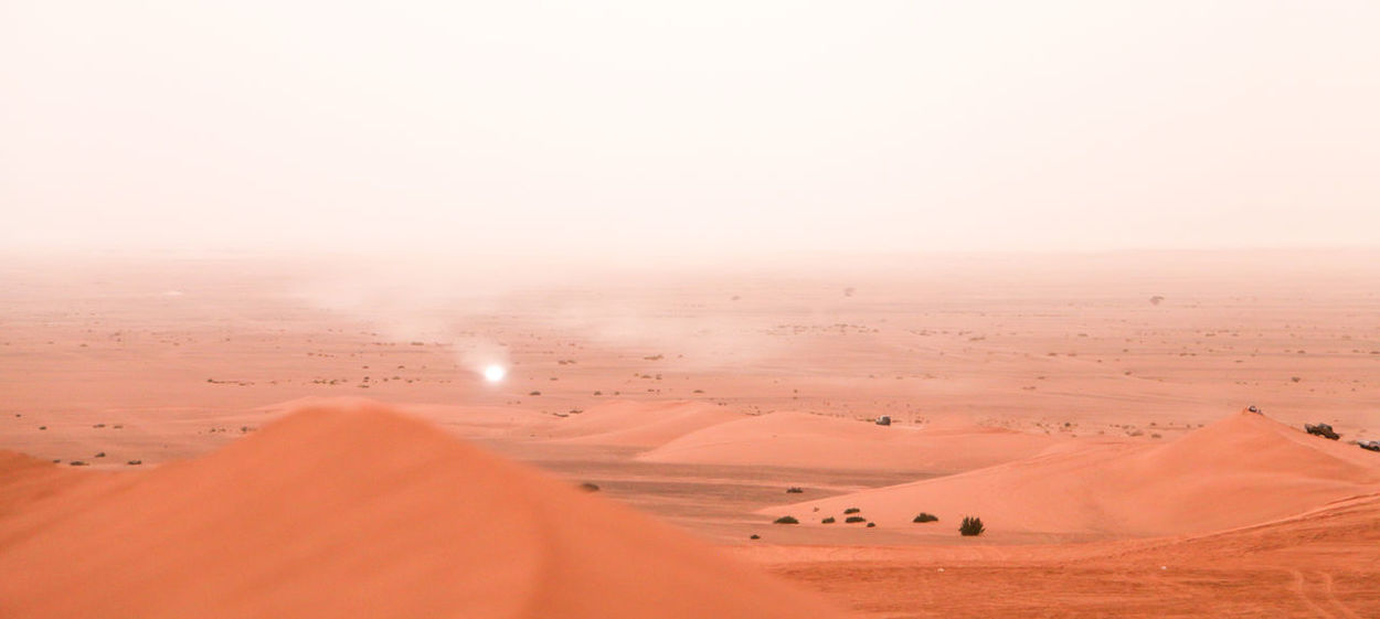 Getting through dust storm. Empty Quarter Najran Saudi Arabia Beauty In Nature Copy Space Day Desert Dust Empty Quarter Desert Environment Horizon Land Landscape Nature No People Outdoors Sand Sand Dune Sky Tranquility الربع الخالي السعودية  صحراء غبار نجران